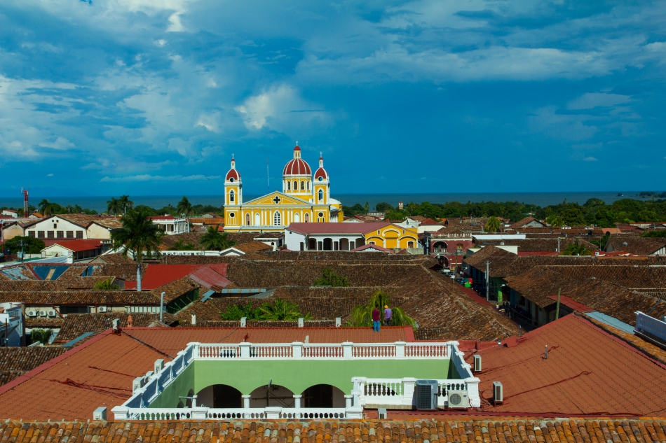 View from the top of the tower at Iglesia de La Merced. The colours of the Cathedral are amazing.