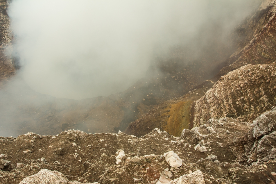 Looking over the rim into the active Santiago Crater of the Masaya Volcano.