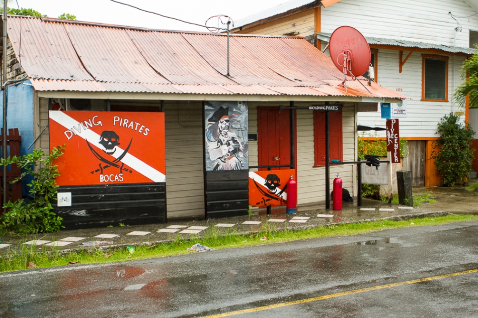 Street view of Bocas Diving Pirates in Bocas del Toro, Panama.