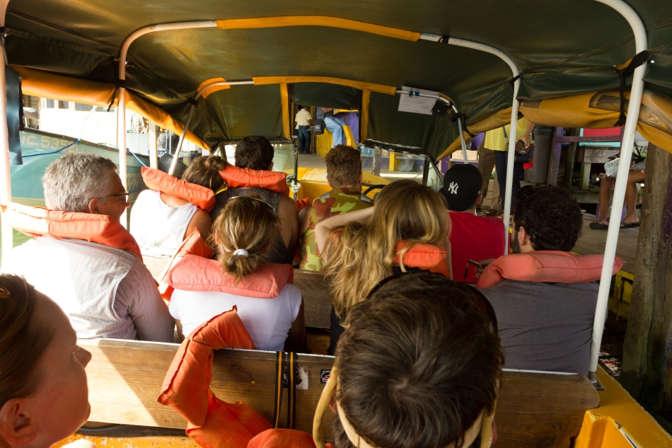 Our boat shuttle was packed to capacity. 17 passengers, 2 crew and everyones luggage, what could go wrong?