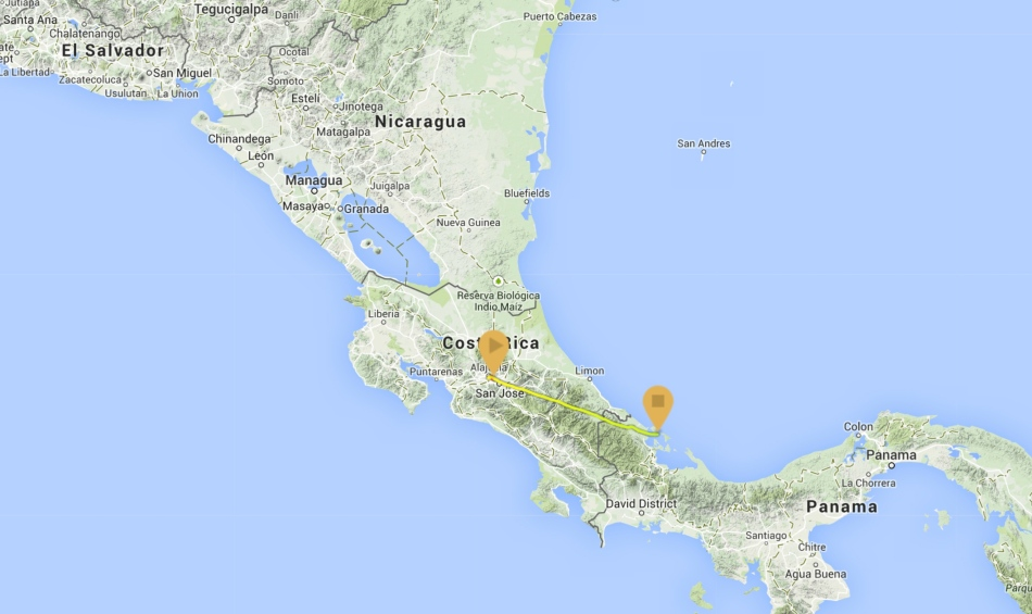 This is the map from my GPS of the trip from San Jose to Bocas del Toro.