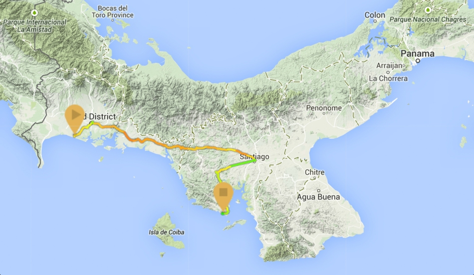 Map of our bus trip from Santa Catalina to Panama City.