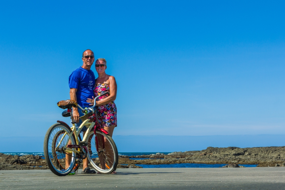 Posing with our bikes on Playa Estero.