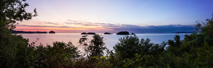Panoramic sunrise shot from the lookout just above our settlement on Coiba.