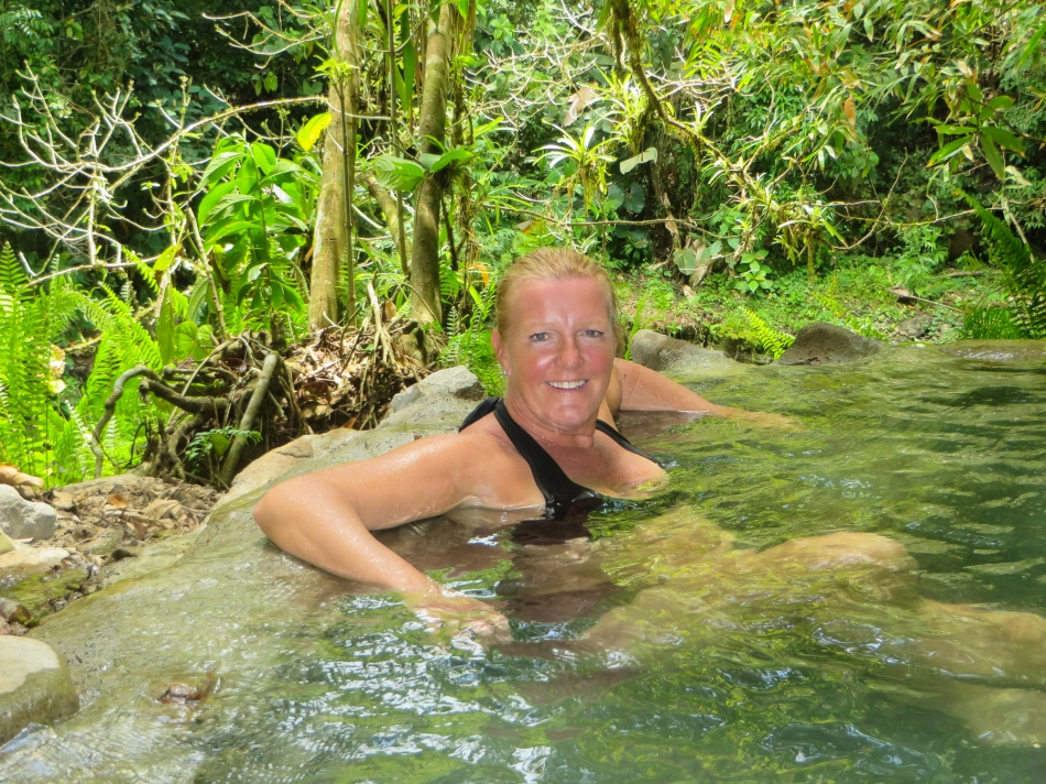 Karen enjoying the hot springs. Not super hot, but comfortably warm considering it is about 30C out.