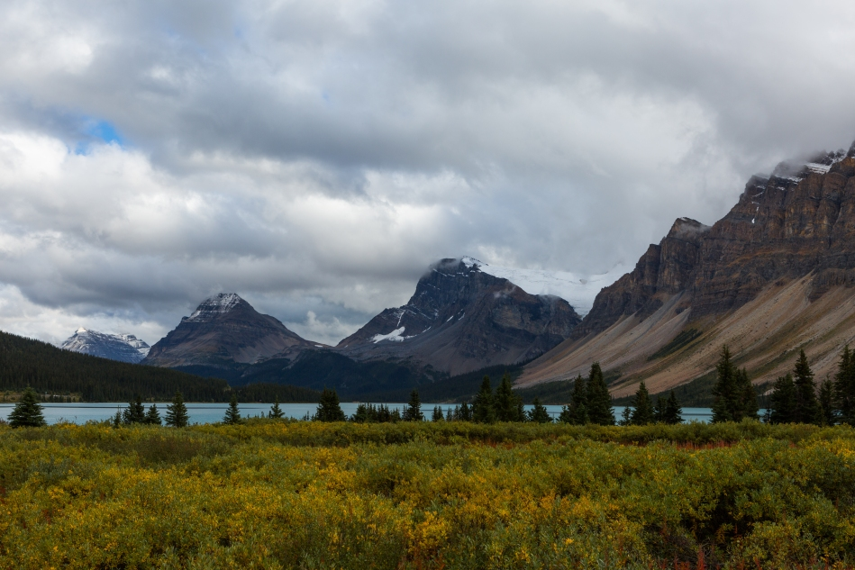 Storm clouds were gathering over Bow Lake.