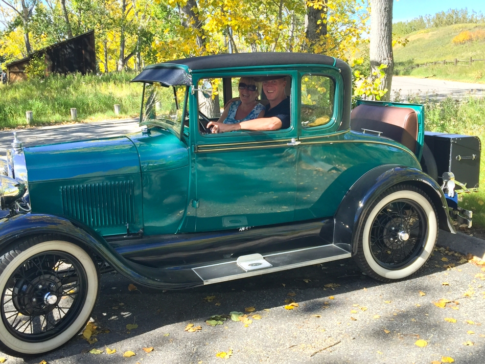 Posing in the front seat. The ride in the rumble seat was fantastic. Thank you Dan and Diana.