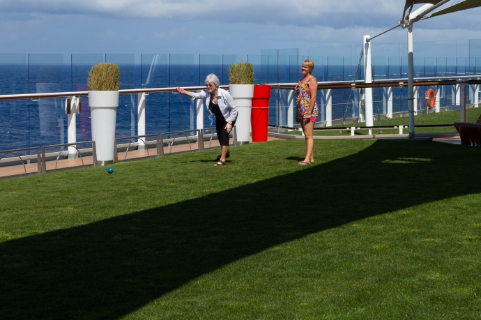 Enjoying some bocce ball on the grass on deck 14. Incredible really.