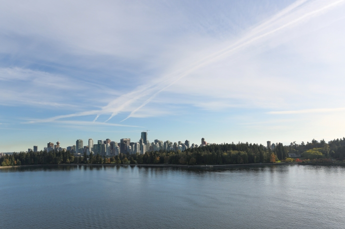A fantastic view of Vancouver from the ship as we pass through the harbour