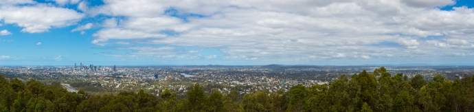 Enjoying the panoramic vista from the top of Mt. Coot-Tha west of Brisbane.
