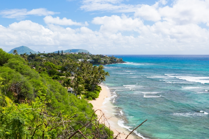 A view down the south shore of Oahu. One of the stops on our Waikiki Trolley tour.