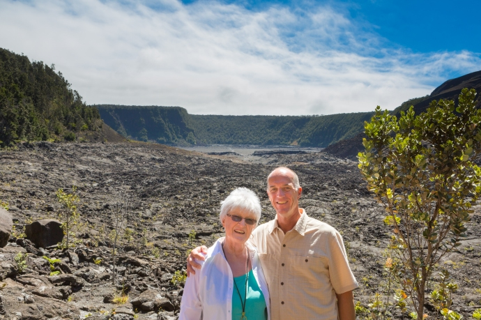 My mother and I at the halfway point of our hike around and through the Kilauea volcano crater.