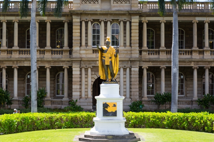 King Kamehameha at the King Kamehameha V Judiciary History Centre in Honolulu on the island of Oahu.