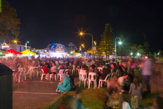 The locals gathering for the fireworks display near the end of the evening on Halloween night.