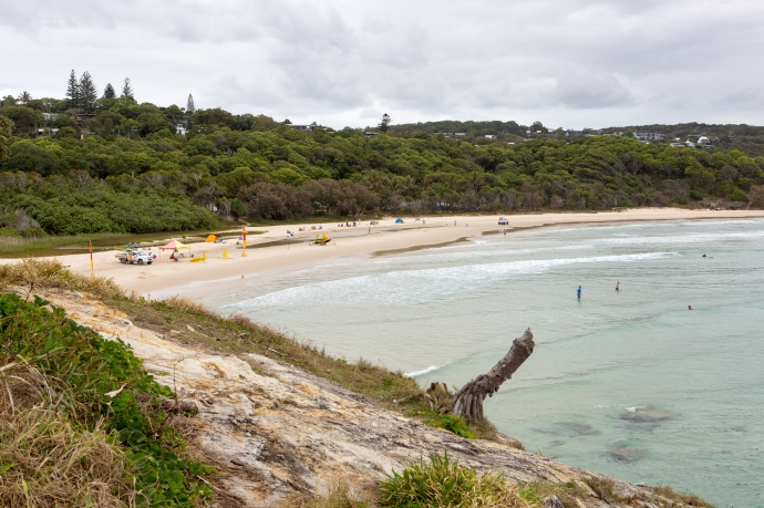 A view of the popular Cylinder Beach on the north end of North Stradbroke Island.