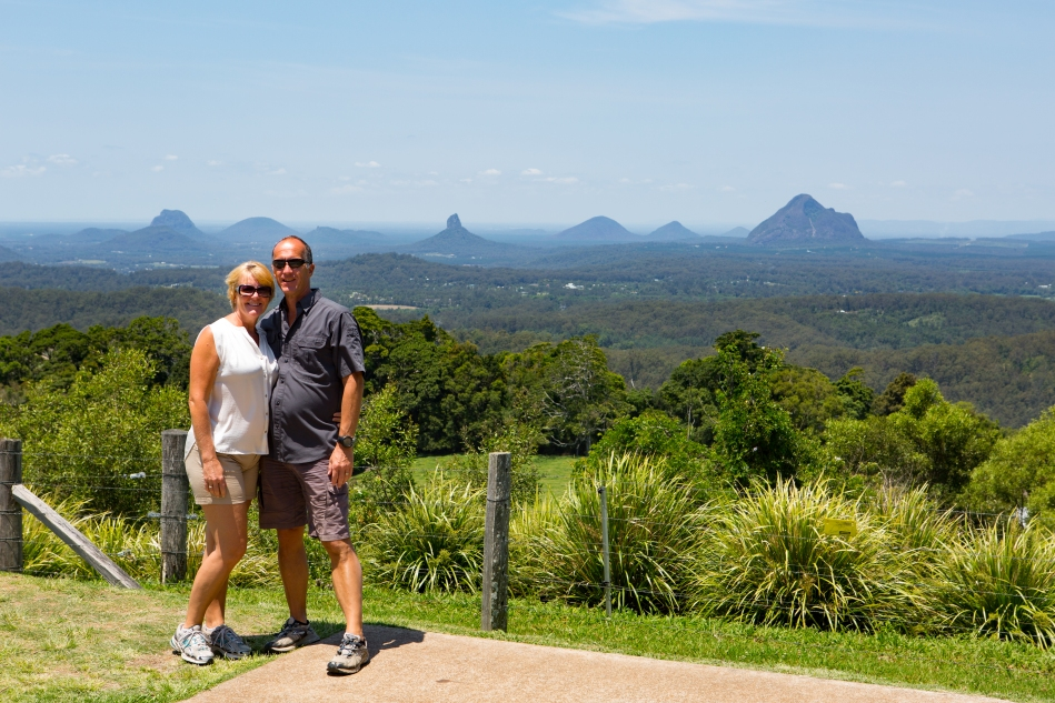 Looking out over the Glass House Mountains from Mary Cairncross Park.