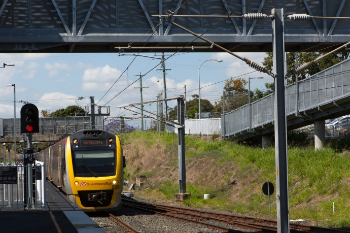 Our train arriving at the station to take us into the CBD of Brisbane.