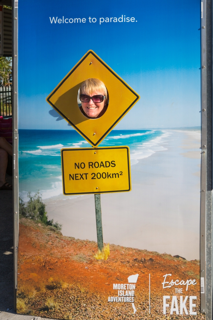Having some fun while waiting for the ferry to Moreton Island.