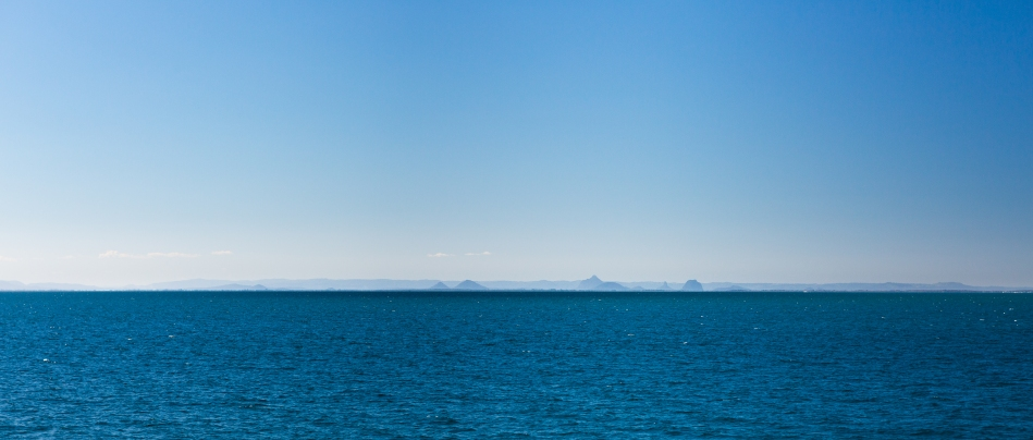 A glimpse of the Glass House Mountains as we sailed back to the Port of Brisbane after a day in the sun.