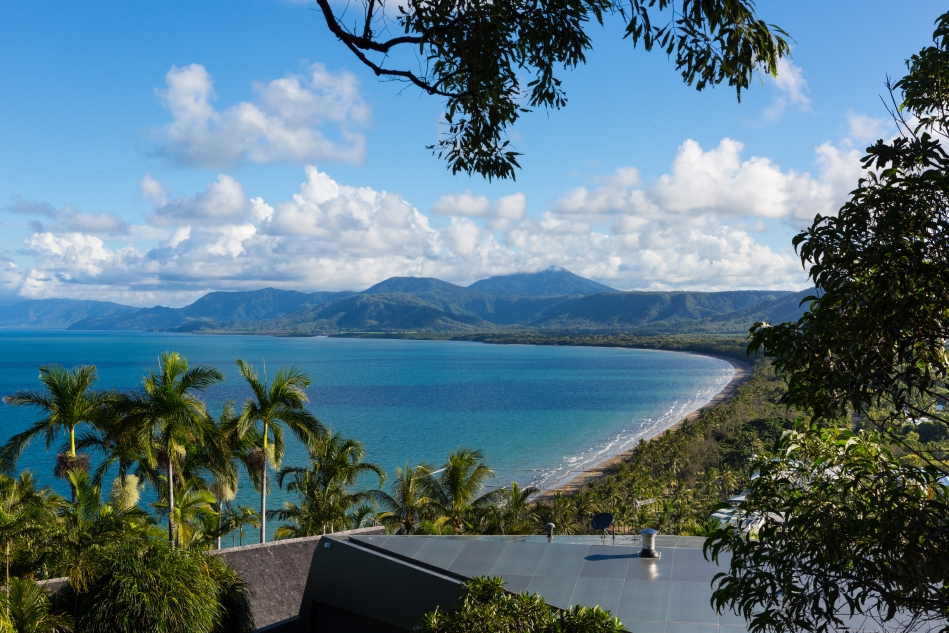 A view of the beach in Port Douglas, Australia from Flagstaff Hill.