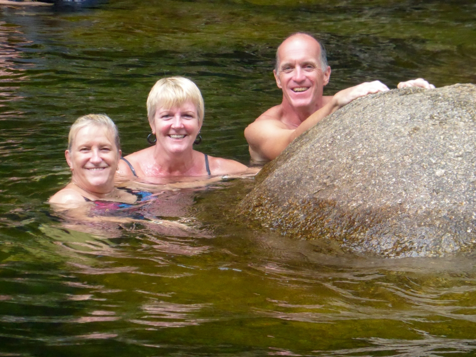 Going for a cool dip in the river at Mossman Gorge with Karen's Aunt.