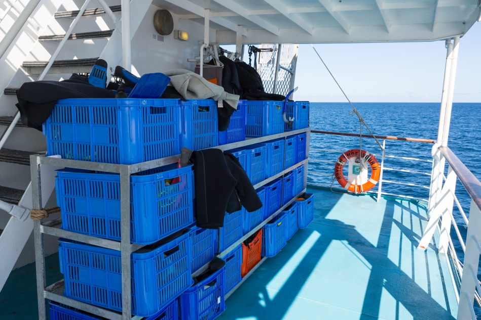 Every room on the boat had a bin assigned so you could store your wet gear outside your room.