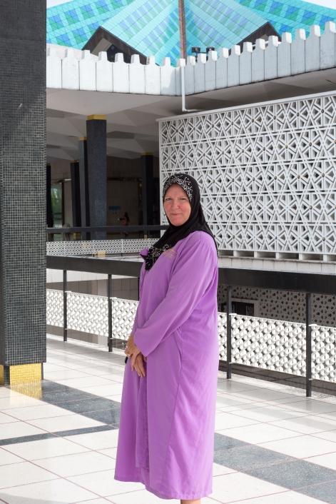 Karen in her borrowed gown and hajib.