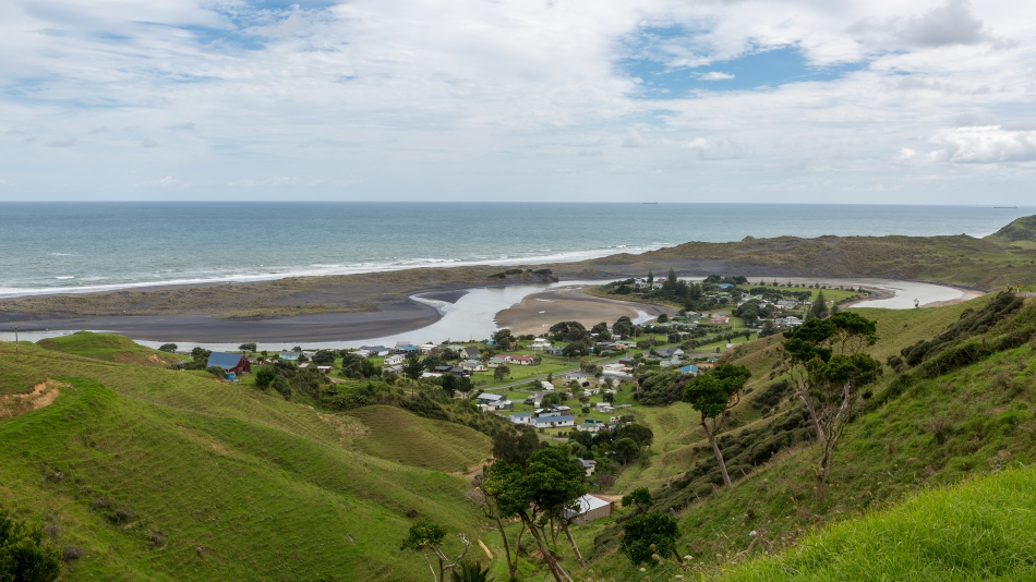 Village of Marokopa on the west coast of the north island